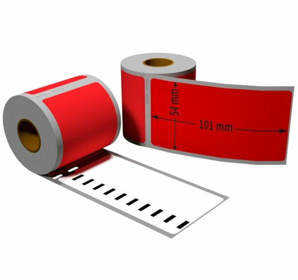 5x Label kompat zu Dymo 99014 54x101mm 220 Label Etiketten pro Rolle
