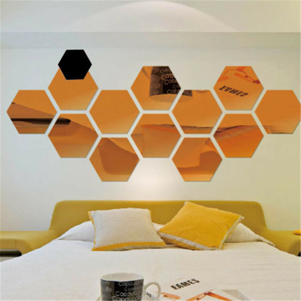 12x 3d mirror hexagon vinyl removable wall sticker decal for Pop wall art
