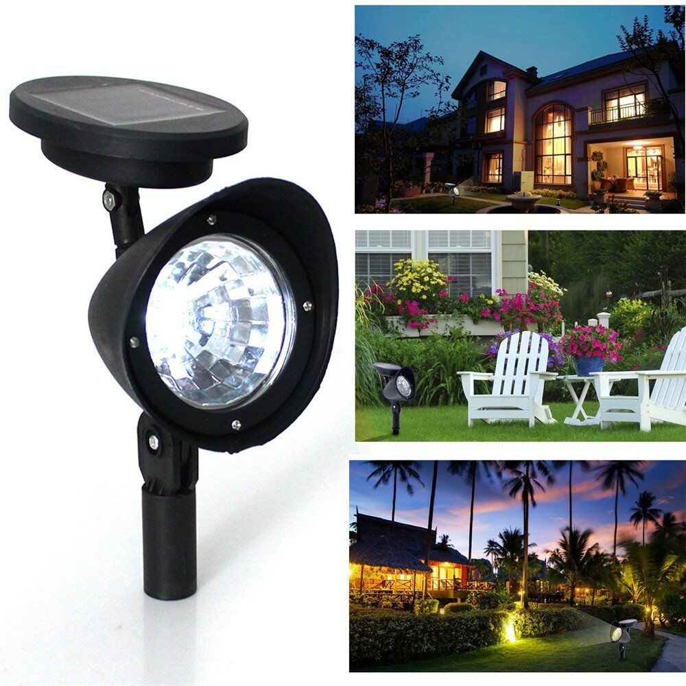 Solar Landscape Lights Outdoor: 4-LED Solar Power Garden Lamp Spot Light Outdoor Lawn