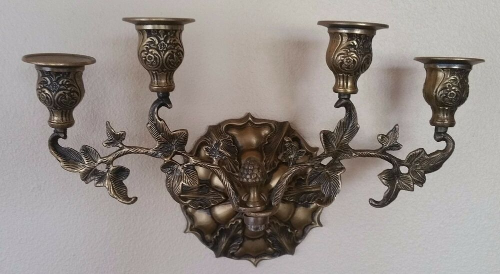 Scroll Wall Sconces Candles : Brass Wall Four Candle Sconce Ornate Leaf &Scroll eBay