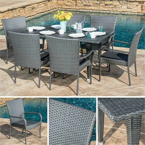 Outdoor Dining Set Gray 7pc Wicker Patio Furniture Table Chairs Pool Garden D