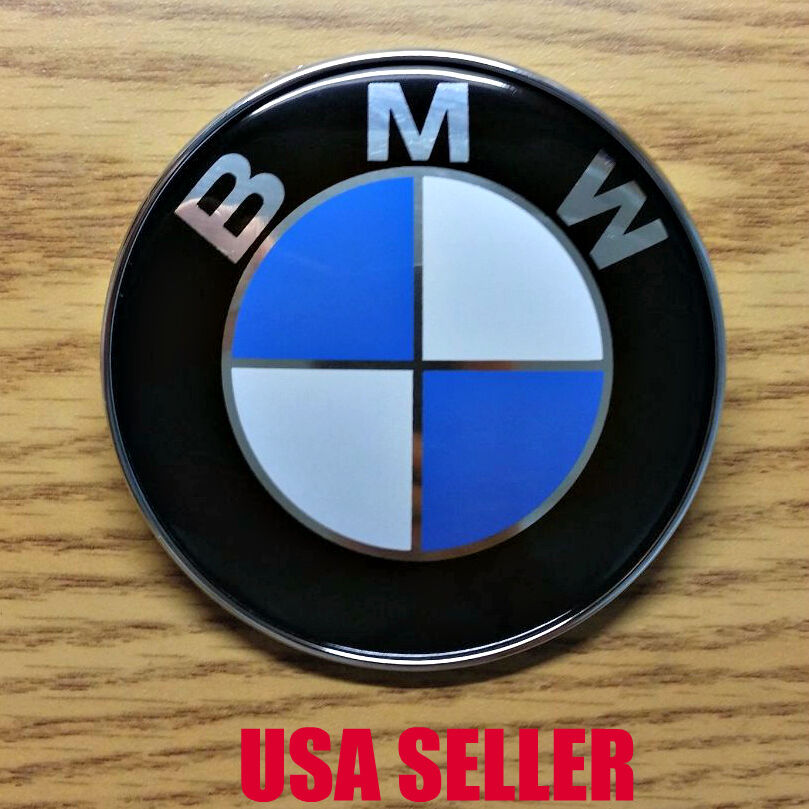new bmw 82mm hood trunk front rear emblem roundel badge e36 e46 e90 m3 usa ebay. Black Bedroom Furniture Sets. Home Design Ideas
