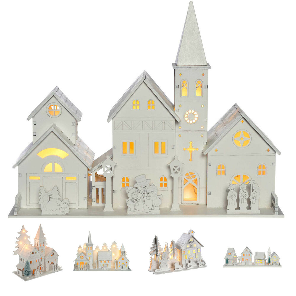 Christmas Church Decoration: Pre-Lit Wooden Village Scene Christmas Decoration Church