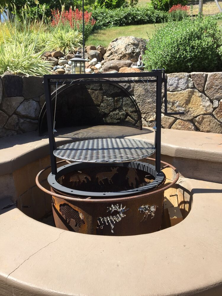 Fire Pit Barbecue Attachment Santa Maria Style Crank