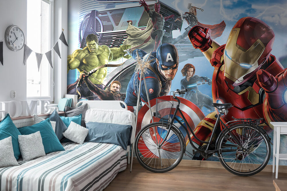 Giant paper wallpaper 368x254cm wall mural for kids room for Avengers wallpaper mural