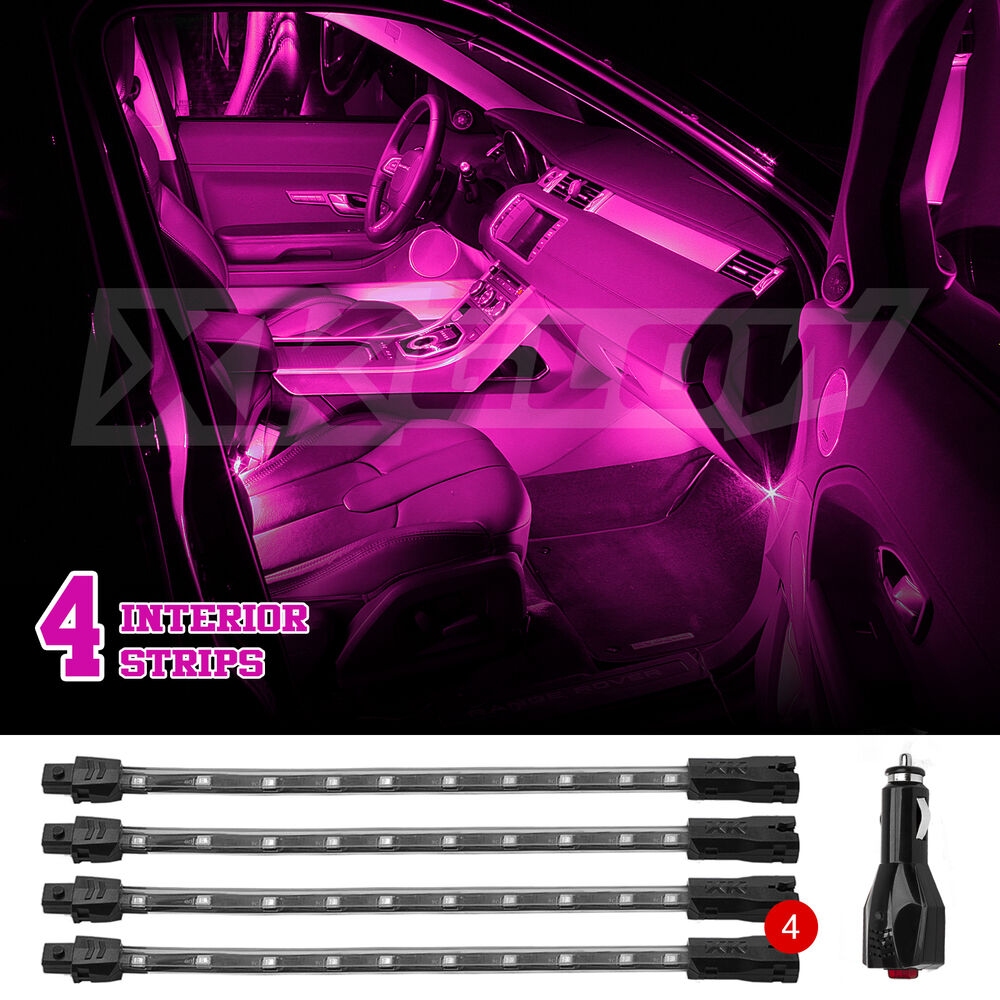 Pink 36 led car interior seat dashboard trunk underglow neon accent light 2zone ebay for Interior neon lights for trucks