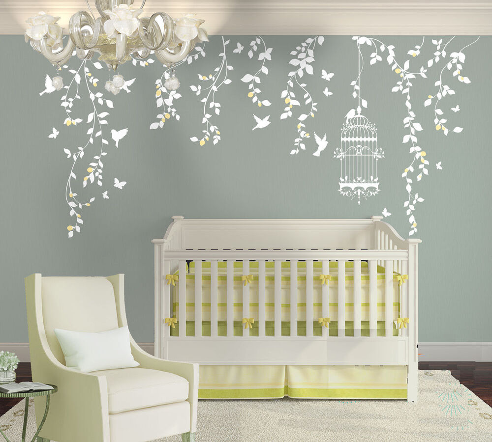 Wall stickers custom vine birdcage butterfly large kids for Kids room decals