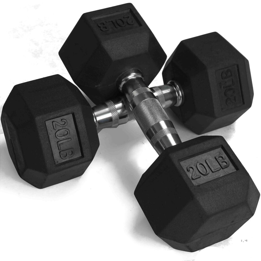 Pair 20 Lb Black Rubber Coated Hex Dumbbells Weight