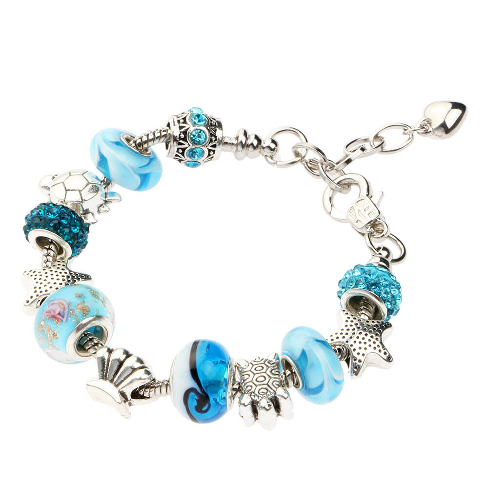 Bead Charm Bracelets: Women Ocean Shell Blue Crystal Glass Beads Chain Bangle