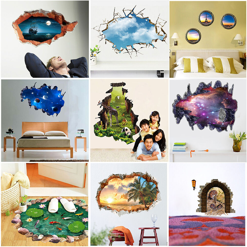 3d look wall vinyl sticker poster childrens adult bedroom living room mural ebay. Black Bedroom Furniture Sets. Home Design Ideas