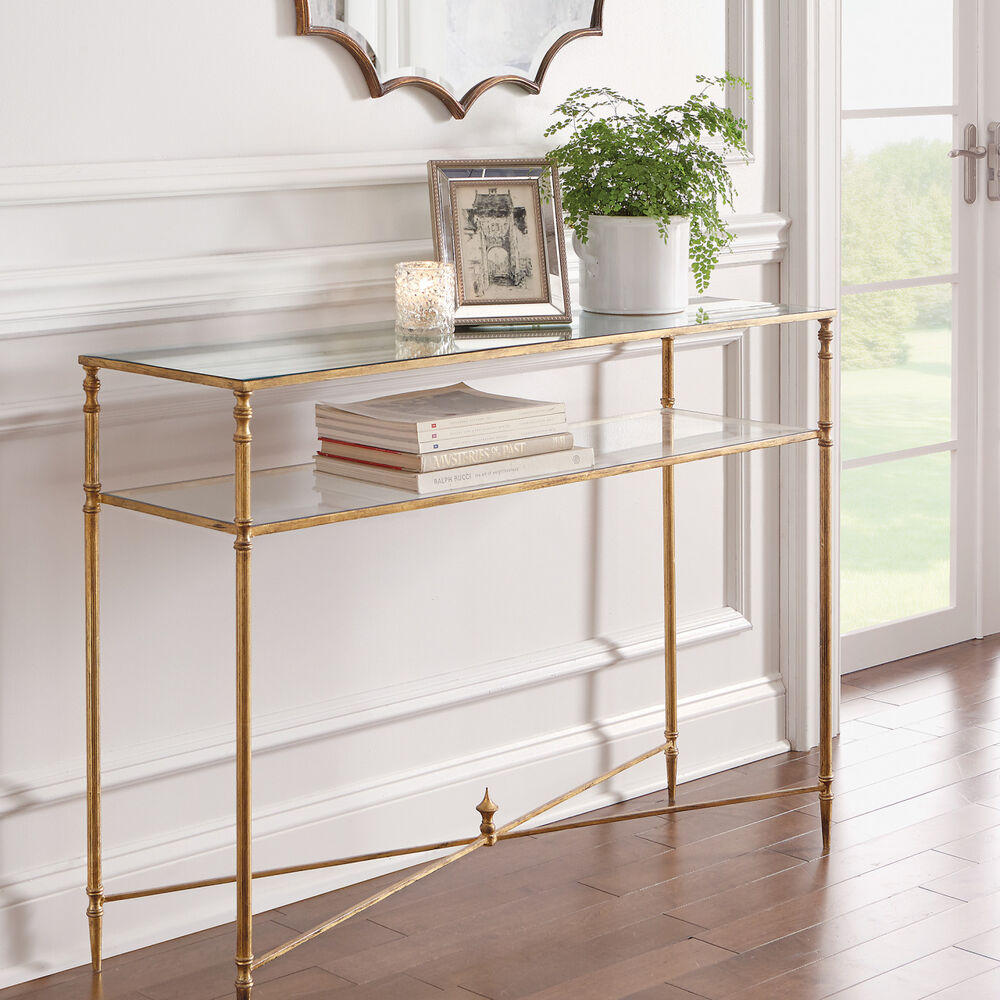 Horchow console table hollywood regency antique gold for Metal and glass console tables