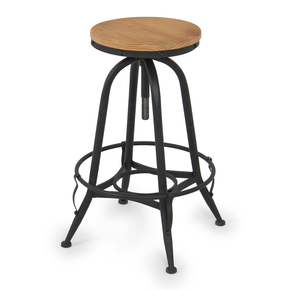 Kitchen Bar With Stools: Vintage Bar Stool Industrial Adjustable Height Swivel Home