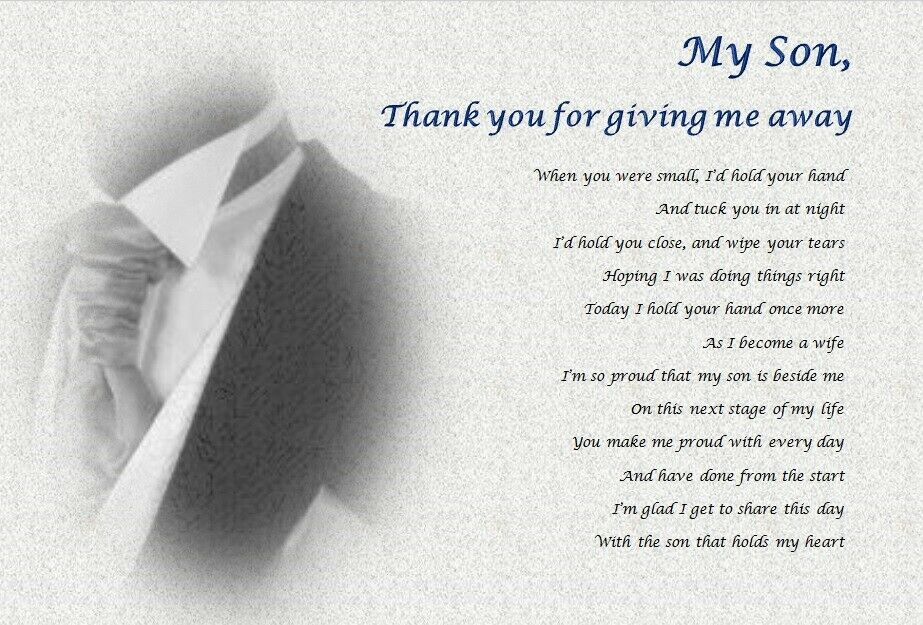 Son Thank You For Giving Me Away Personalised Wedding