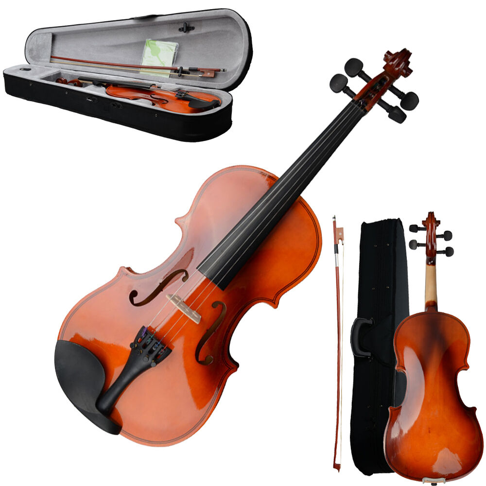 size 3 4 acoustic violin with case bow rosin strings tuner. Black Bedroom Furniture Sets. Home Design Ideas