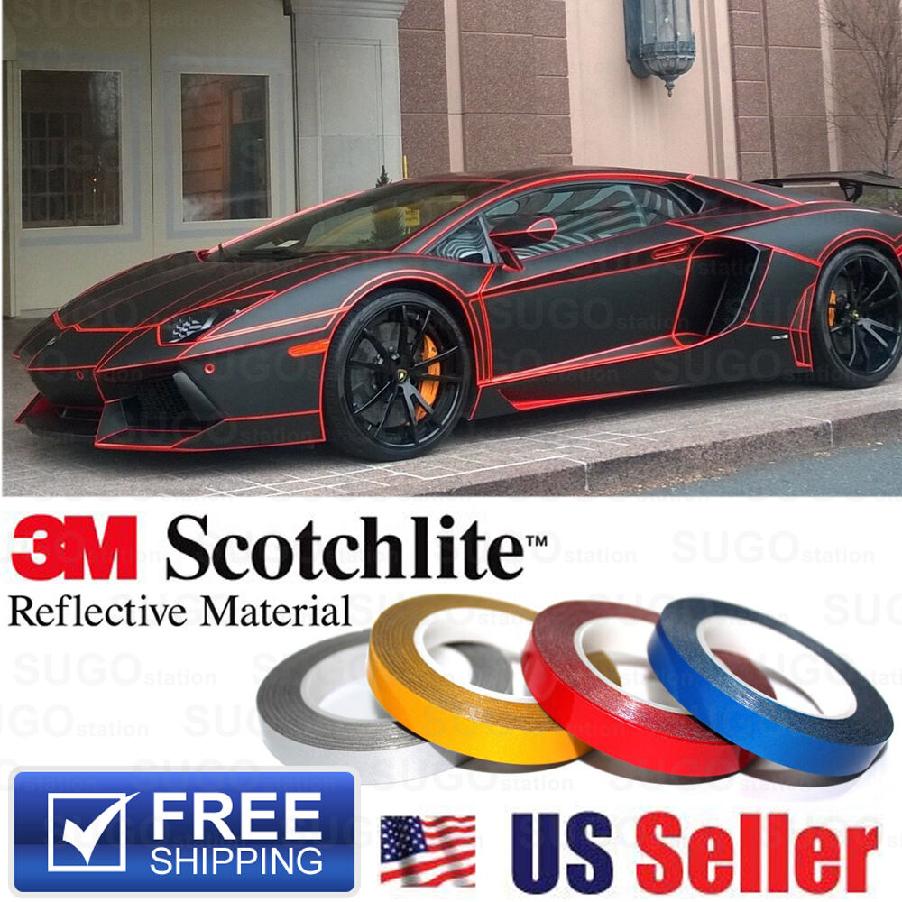 Red Reflective Body Stripe Vinyl Tape Diy Sticker Decal