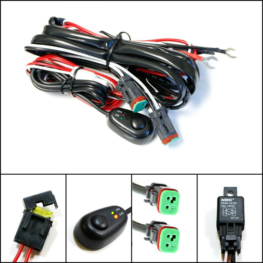 deutsch dt dtp connectors relay harness wire kit with led light on off switch ebay. Black Bedroom Furniture Sets. Home Design Ideas