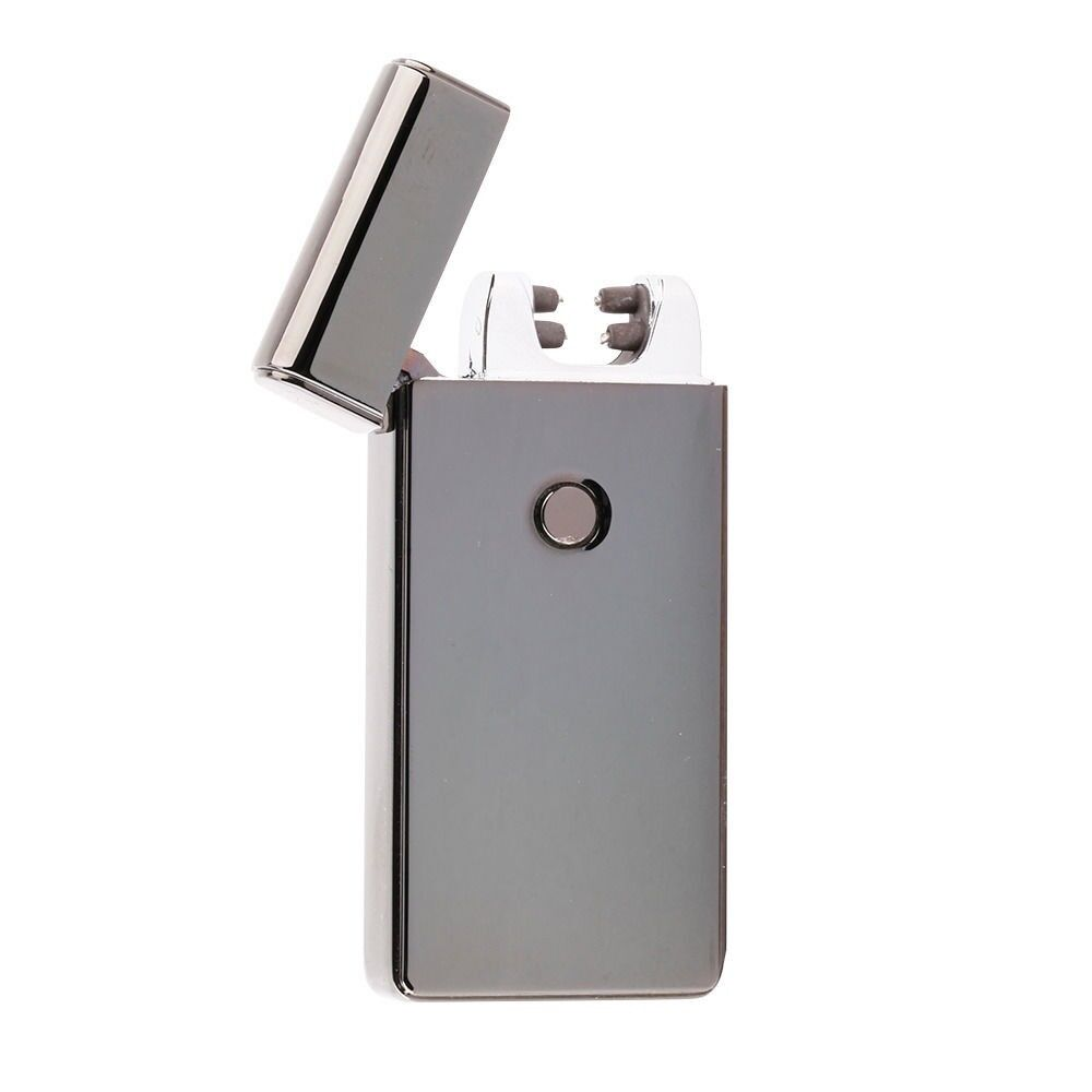 Black Electric Dual Arc Metal Flameless Torch USB Rechargeable Windproof Lighter | eBay