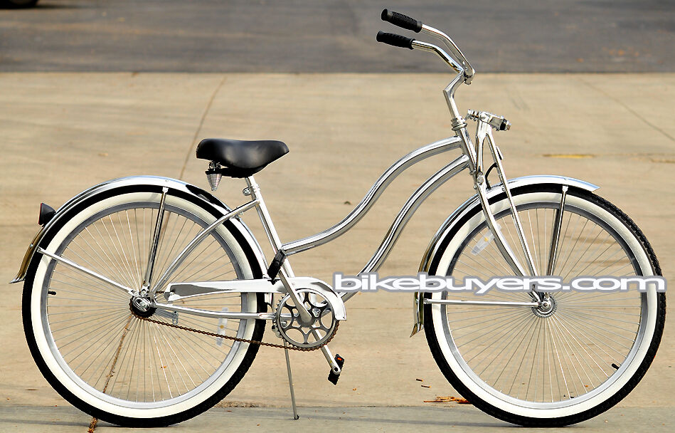 All Chrome beach cruiser bike bicycle Cougar GTS women