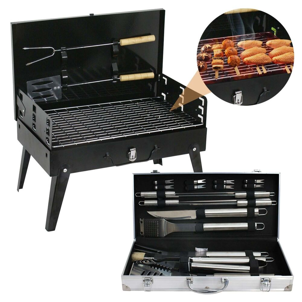 folding bbq grill smoker with 19pcs stainless steel utensils barbecue tools set ebay. Black Bedroom Furniture Sets. Home Design Ideas