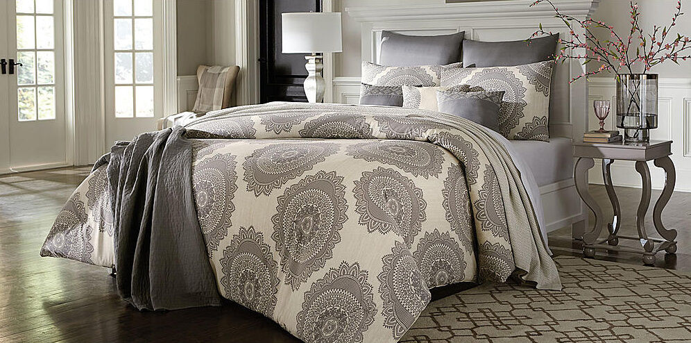 7 Piece Grey Cream Geometric Floral Medallion Comforter