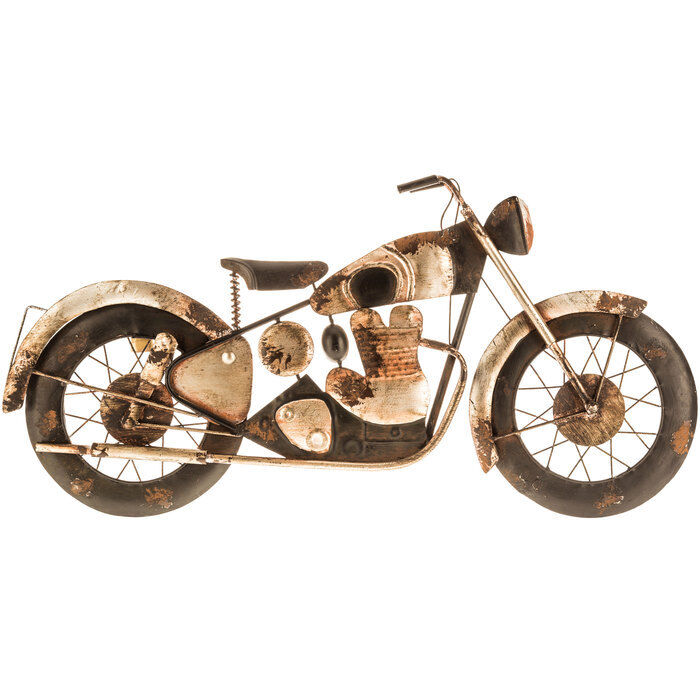 harley davidson motorcycle rustic metal wall art black and silver rusty piece ebay. Black Bedroom Furniture Sets. Home Design Ideas