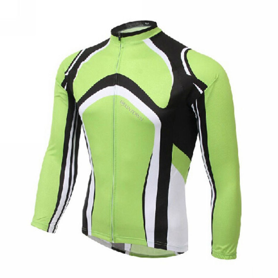 Green Mens Winter Cycling Jersey Bicycle Wear Long Sleeve ...