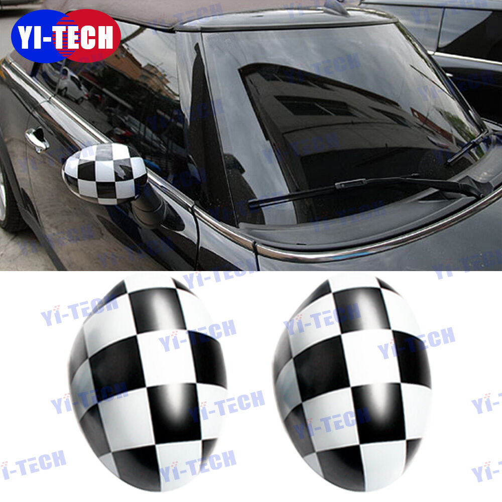 Checker For Mini Cooper Side Wing Mirror Covers Cap For