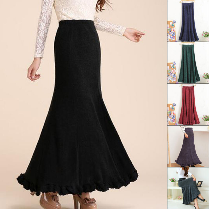 jp fall winter womens a line woolen skirt maxi skirt