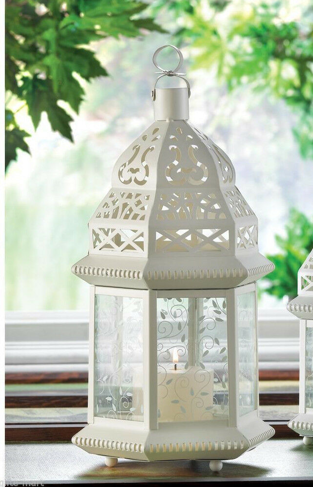 Large 15 Quot Tall White Moroccan Shabby Candle Holder Lantern