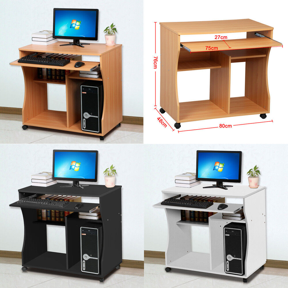 Wooden home office computer desk study furniture mobile for Mobile furniture
