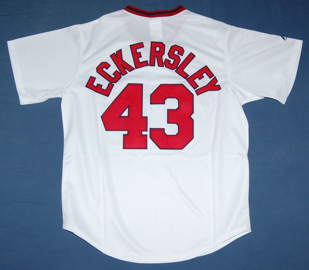 39871850d DENNIS ECKERSLEY BOSTON RED SOX MAJESTIC COOPERSTOWN SEWN JERSEY XL ...