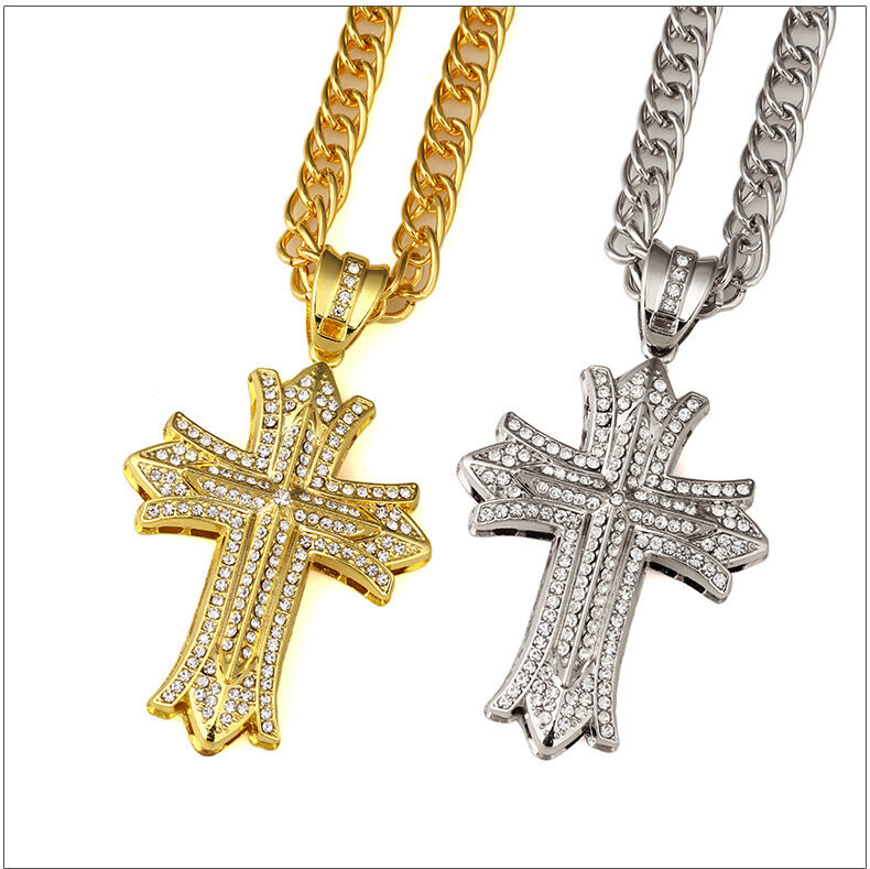 CZ Iced Out Jesus Cross Pendant Gold Plated Necklace Hip