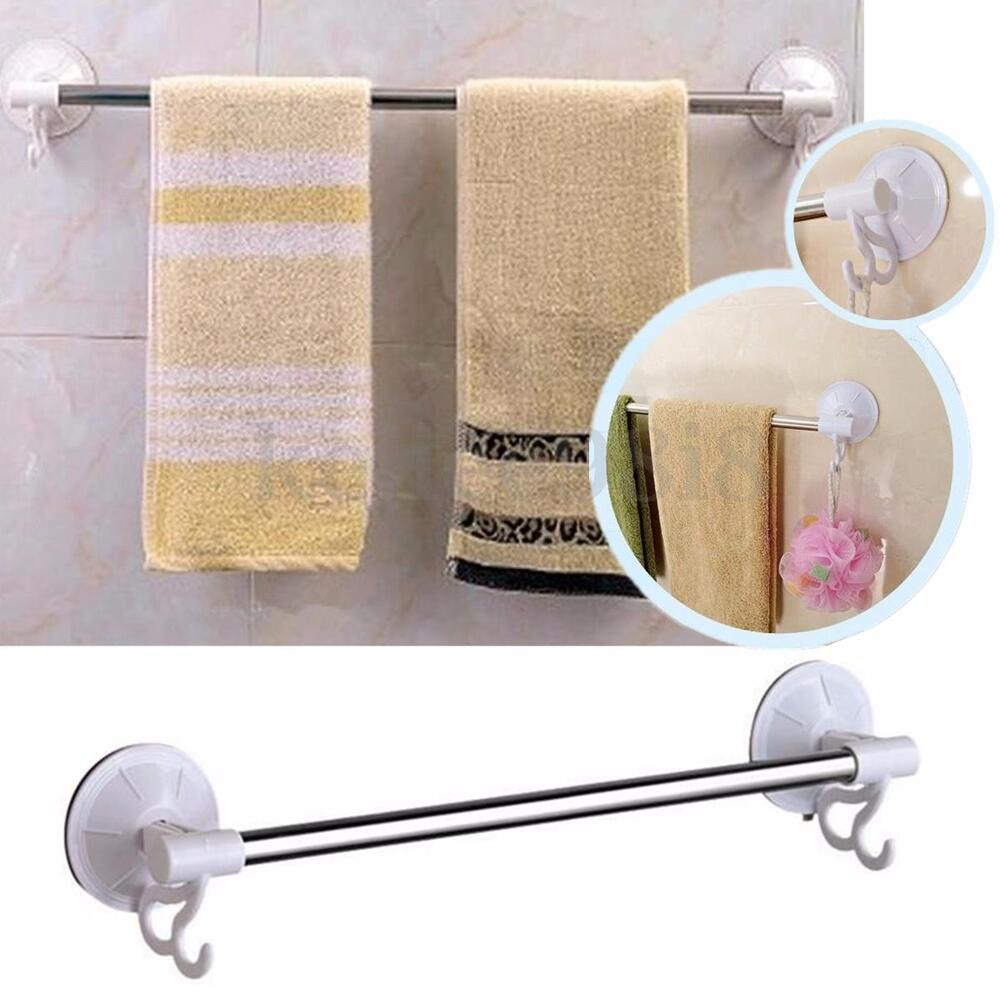 suction cup single rod towel rack bar shelf stainless steel bathroom rail holder ebay. Black Bedroom Furniture Sets. Home Design Ideas