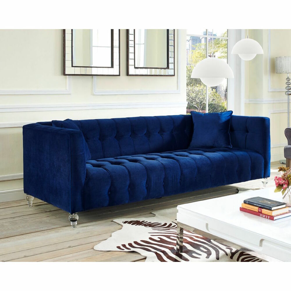 Details about new horchow replica navy velvet mid century modern tufted sofa acrylic legs