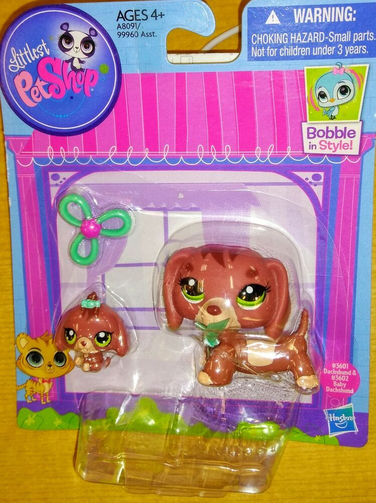 Dog Littlest Pet Shop Mommy And Baby Dachshund Bobble