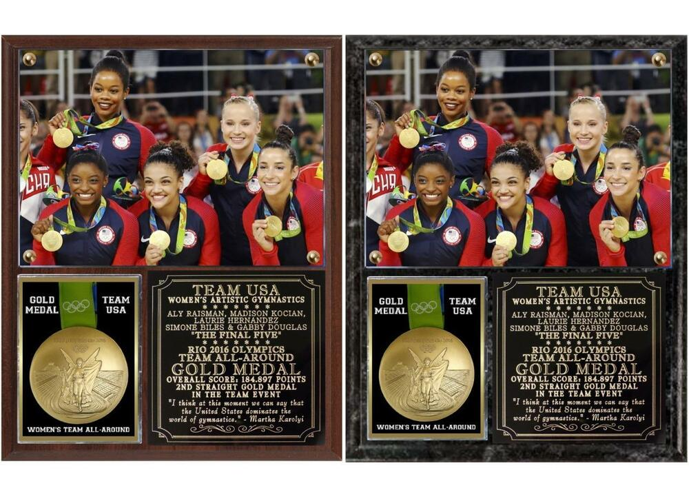 79f6c8782b3 Details about Women s Gymnastics Team USA Gold Medal Team All-Around Rio  Olympics Photo Plaque