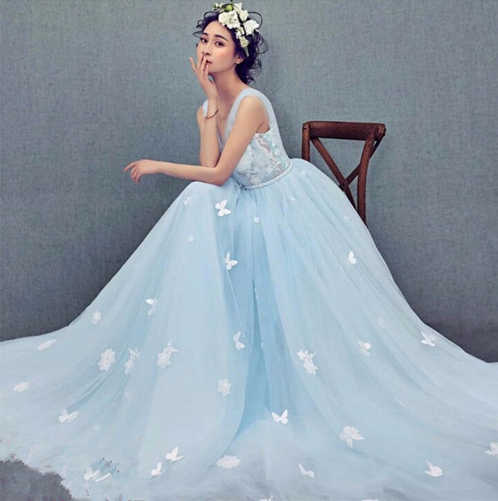 Butterfly Wedding Gown: Light Blue Applique Butterfly Train Wedding Dress