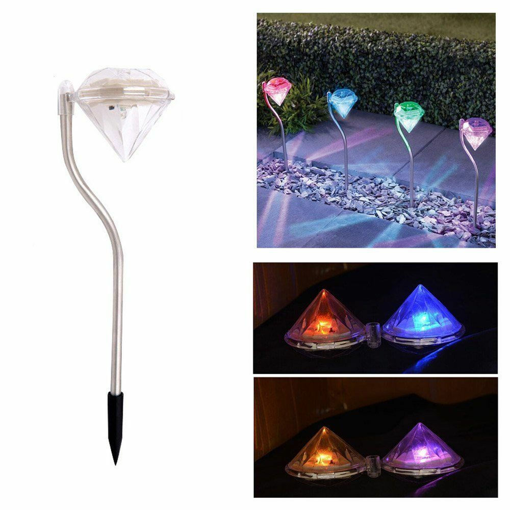 4x solar 7 color changing led outdoor light power yard for Garden lights