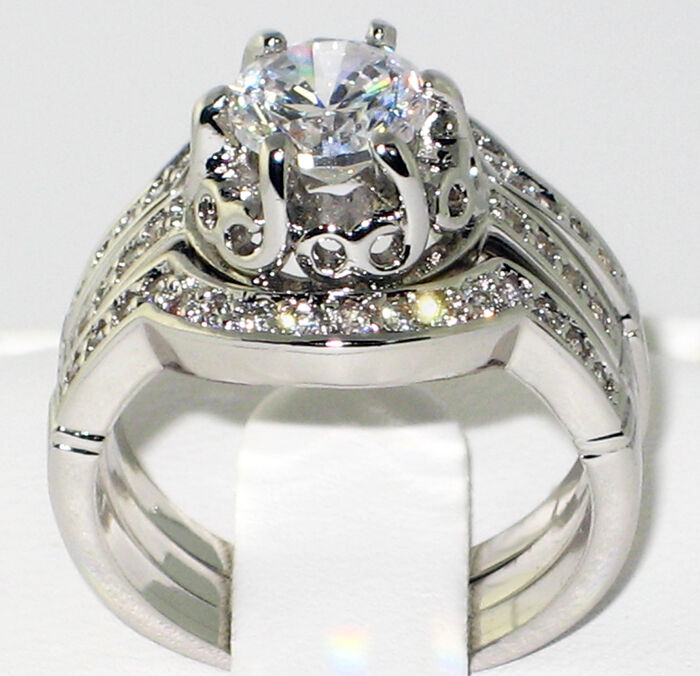 Heirloom antique 175 ct cz bridal engagement wedding for 3pc wedding ring set