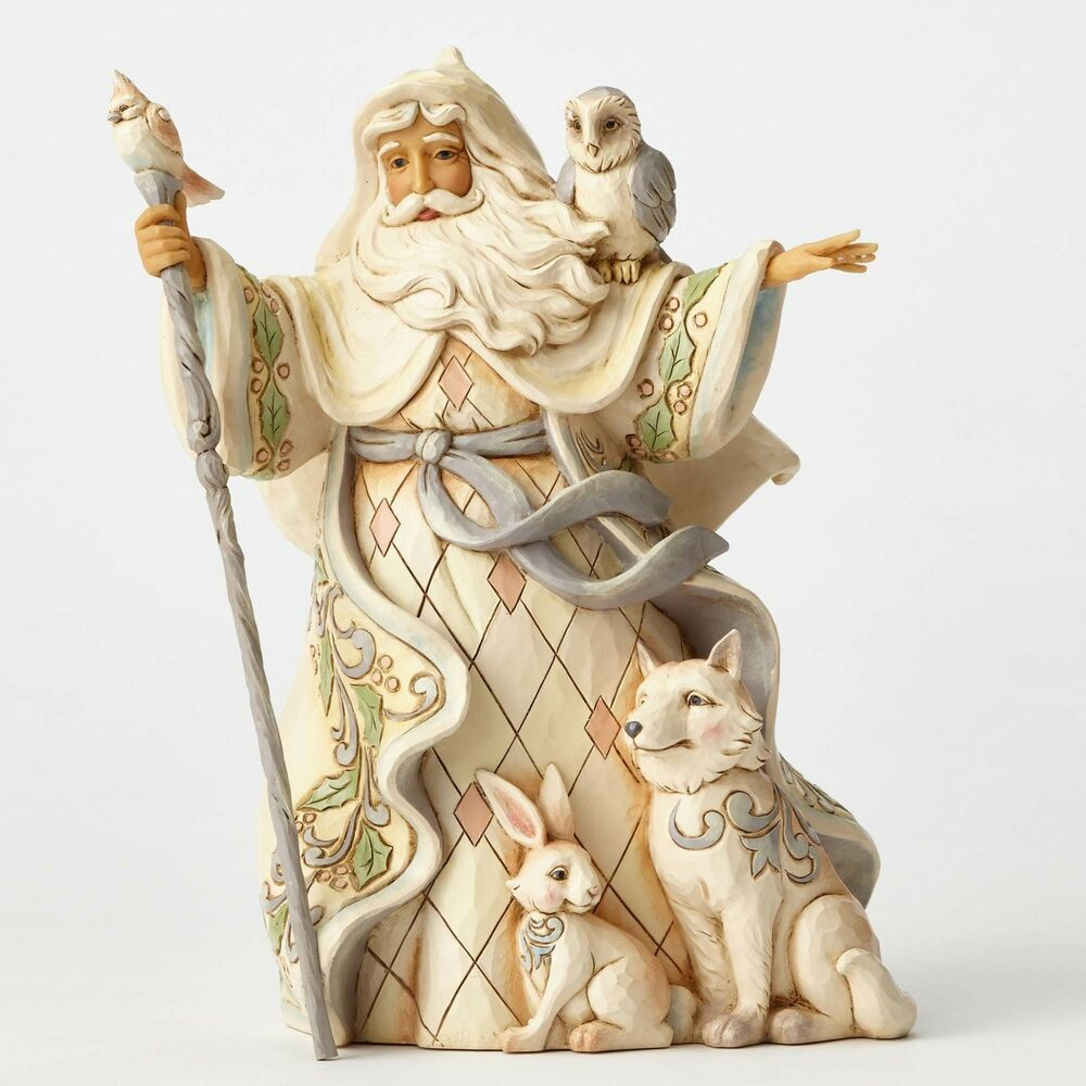 One love for all white woodland santa with cane animals