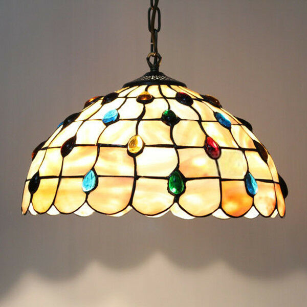 Mediterranean Stained Glass Tiffany Peacock Pendant Lights
