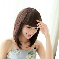 Short Brown Straight Bob Hair New Fashion Full Wig Cosplay Party Wigs PO288