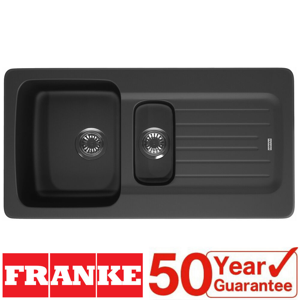 Franke Aveta 1.5 Bowl Black Tectonite Reversible Kitchen Sink & Waste ...