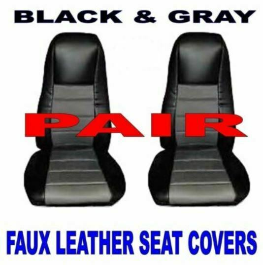 TRUCK Seat Covers PAIR Black Gray Leather