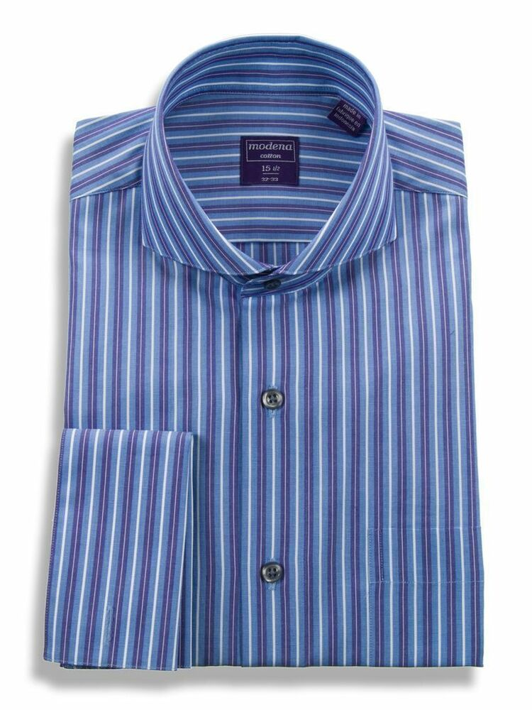 Mens regular fit cutaway collar french cuff cotton striped for Men s regular fit shirts