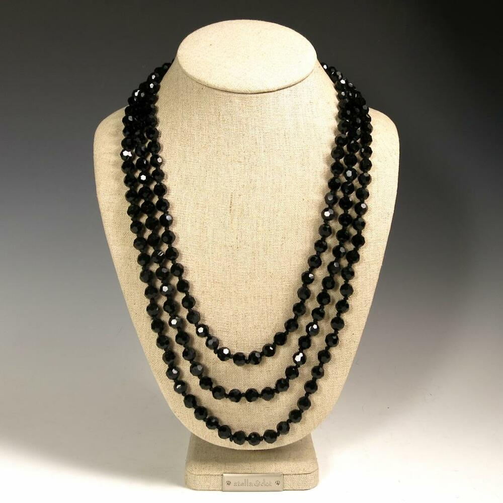 Classic 72 034 Faceted Black Sparkling Crystals Beaded