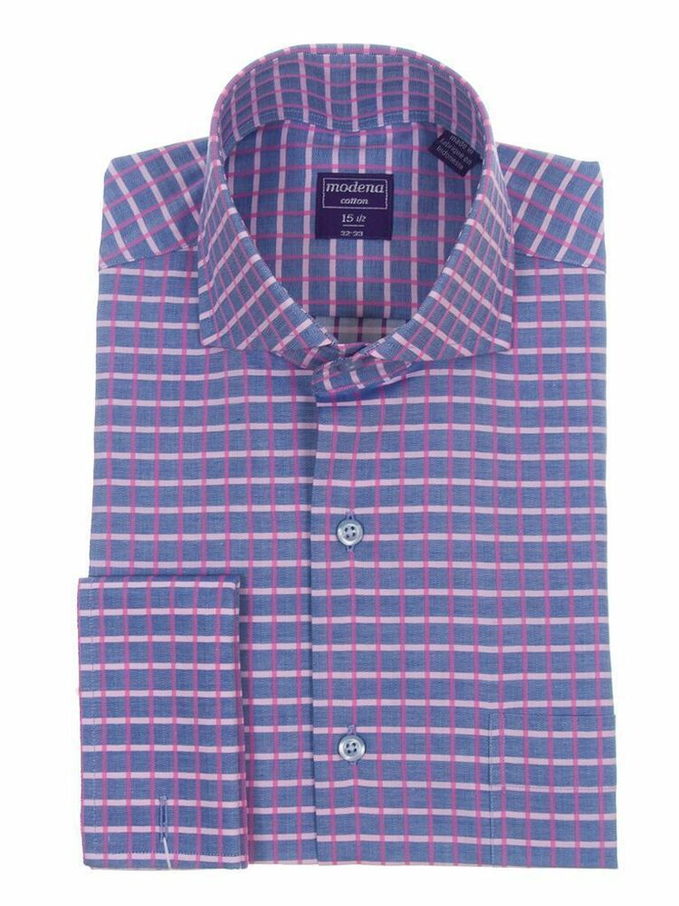 Classic fit french cuff cotton herringbone plaid dress for French collar dress shirt
