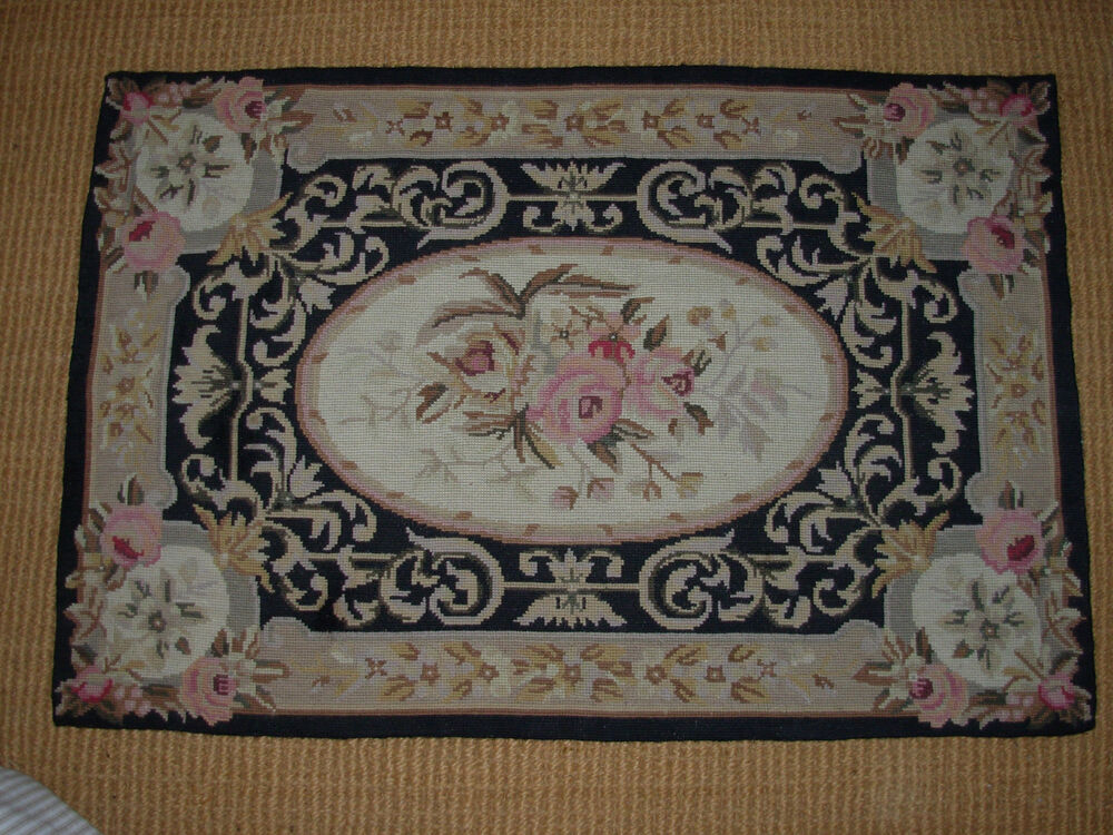 Victorian Style Black Wool Needlepoint Rug Roses 34 1 2