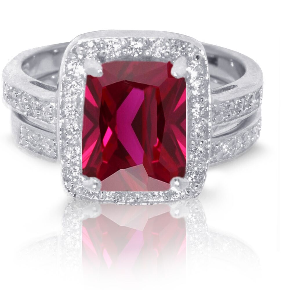 Traditional Ruby Wedding Engagement Sterling Silver Ring Set EBay
