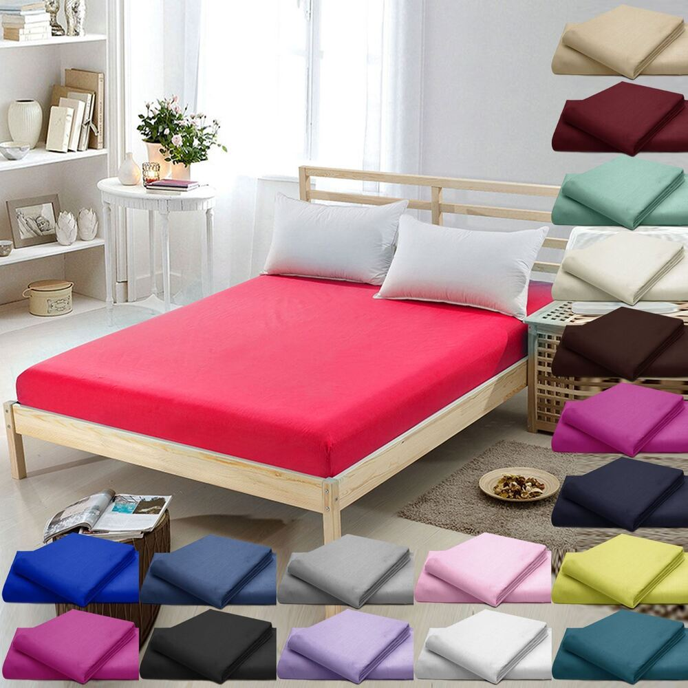 100 Egyptian Cotton 16 Quot 40cm Deep Fitted Bed Sheets Twin